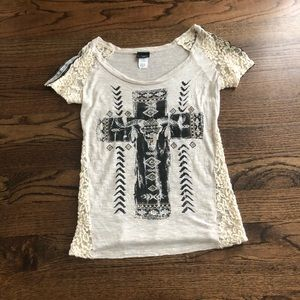 Cute Round neck daytrip Tee with Rhinestones